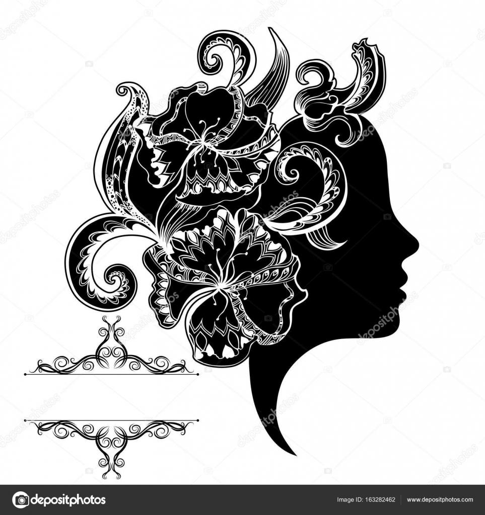 Schöne Mädchen Gesicht mit reich verzierten und Rahmen — Stockvektor ...