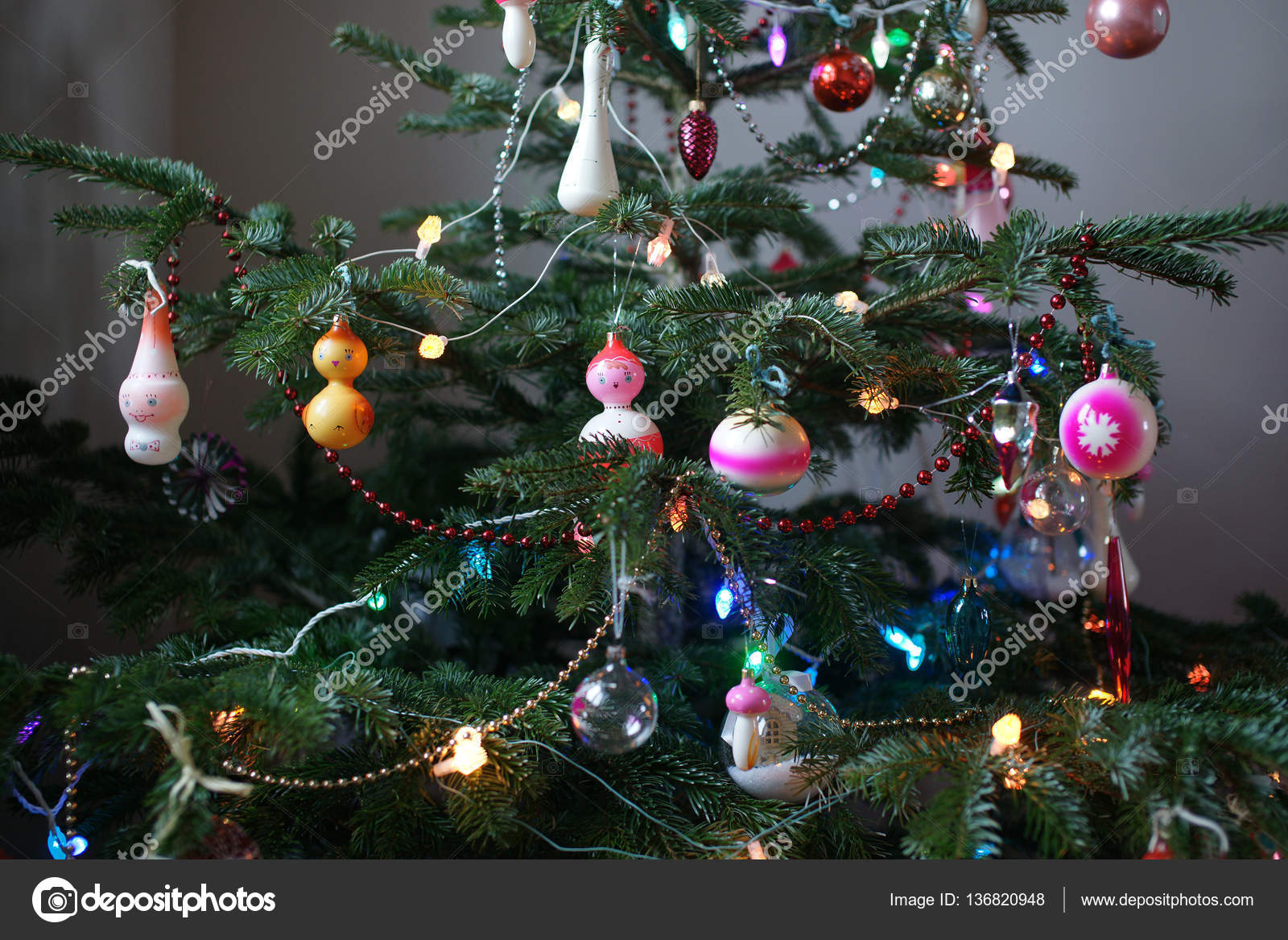Old Soviet Christmas decorations on New Year tree. — Stock Photo ...