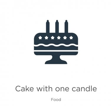 Cake with one candle icon vector. Trendy flat cake with one candle icon from food collection isolated on white background. Vector illustration can be used for web and mobile graphic design, logo,