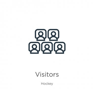 Visitors icon. Thin linear visitors outline icon isolated on white background from hockey collection. Line vector visitors sign, symbol for web and mobile