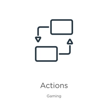 Actions icon. Thin linear actions outline icon isolated on white background from gaming collection. Line vector actions sign, symbol for web and mobile