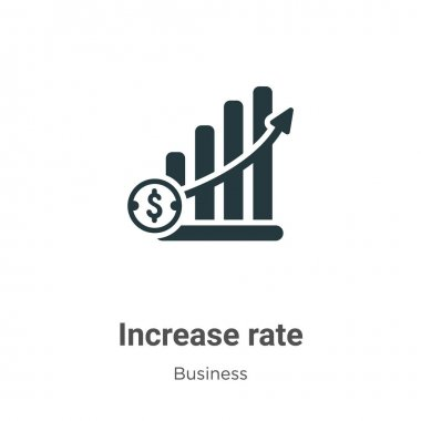Increase rate vector icon on white background. Flat vector increase rate icon symbol sign from modern business collection for mobile concept and web apps design.
