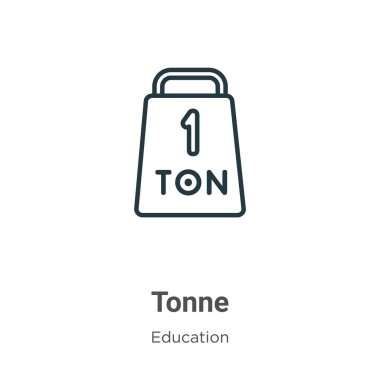 Tonne outline vector icon. Thin line black tonne icon, flat vector simple element illustration from editable education concept isolated on white background