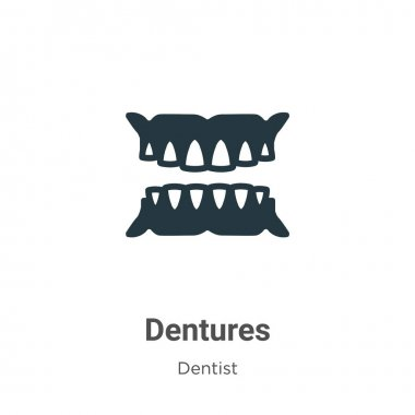 Dentures vector icon on white background. Flat vector dentures icon symbol sign from modern dentist collection for mobile concept and web apps design.