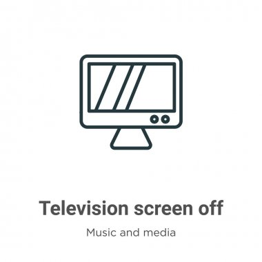 Television screen off outline vector icon. Thin line black television screen off icon, flat vector simple element illustration from editable music and media concept isolated on white background