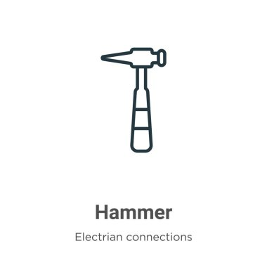 Hammer outline vector icon. Thin line black hammer icon, flat vector simple element illustration from editable electrian connections concept isolated on white background
