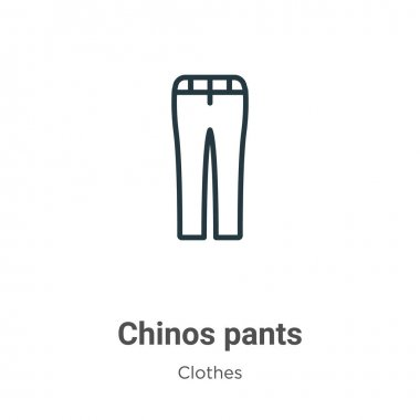 Chinos pants outline vector icon. Thin line black chinos pants icon, flat vector simple element illustration from editable clothes concept isolated stroke on white background