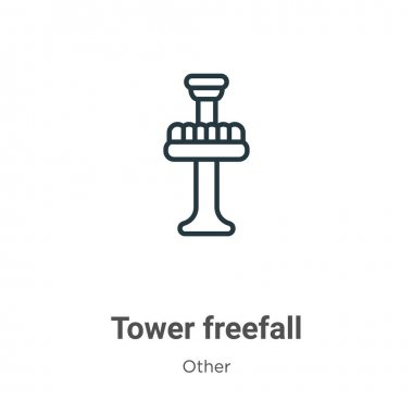 Tower freefall outline vector icon. Thin line black tower freefall icon, flat vector simple element illustration from editable other concept isolated stroke on white background