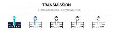 Transmission icon in filled, thin line, outline and stroke style. Vector illustration of two colored and black transmission vector icons designs can be used for mobile, ui, web