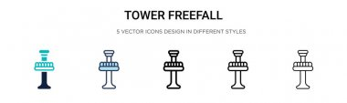 Tower freefall icon in filled, thin line, outline and stroke style. Vector illustration of two colored and black tower freefall vector icons designs can be used for mobile, ui, web