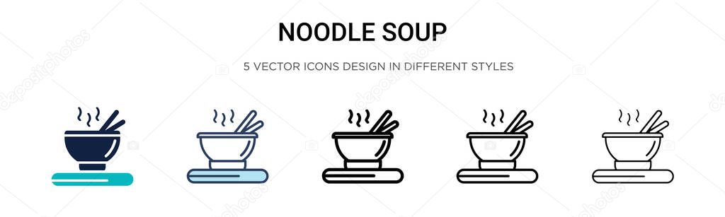 Noodle Soup Icon In Filled Thin Line Outline And Stroke Style Vector Illustration Of Two Colored And Black Noodle Soup Vector Icons Designs Can Be Used For Mobile Ui Web Premium