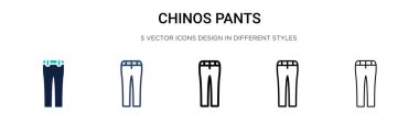 Chinos pants icon in filled, thin line, outline and stroke style. Vector illustration of two colored and black chinos pants vector icons designs can be used for mobile, ui, web