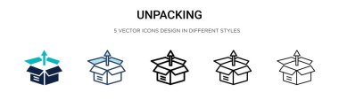 Unpacking icon in filled, thin line, outline and stroke style. Vector illustration of two colored and black unpacking vector icons designs can be used for mobile, ui, web
