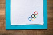 Tokio, Japonsko, leden. 20. 2020: Olympijské tapety, bílá editační plocha