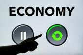 Ein Knopfdruck genügt, um die nationale Wirtschaft nach der Krise wieder in Gang zu bringen. Der Anstieg der Weltwirtschaft von COVID-19.
