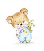 Fotografie Teddybär mit Hase auf weißem Hintergrund