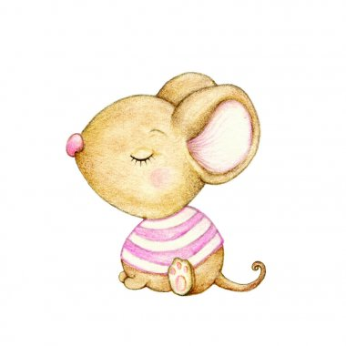 Cute baby mouse on white background