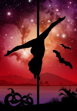 Halloween style silhouette of female pole dancer. performing pole moves in front of river and stars. Pole dancer in front of space background with Halloween elements.