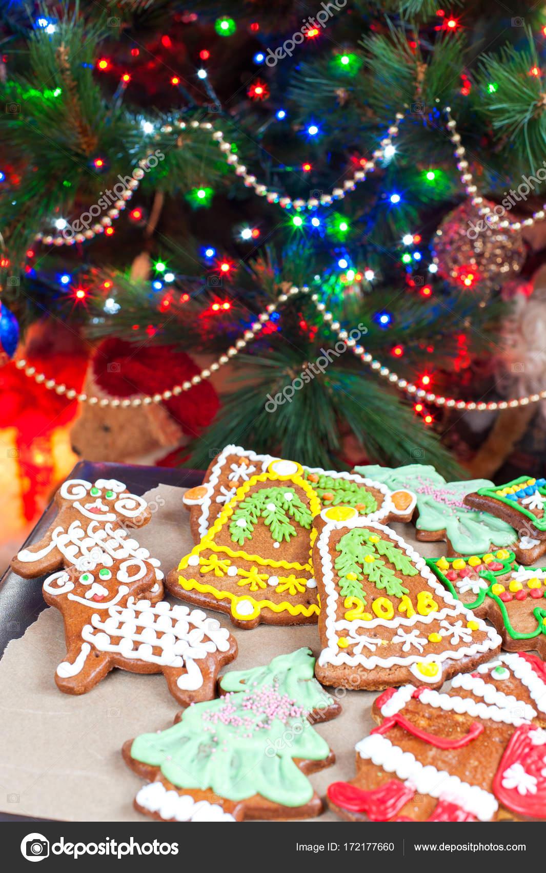 Homemade Christmas Tree Shape Gingerbread Cookies On Illuminated