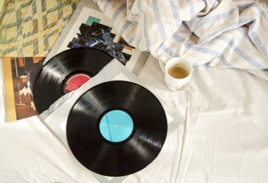vinyl record with vintage film filter