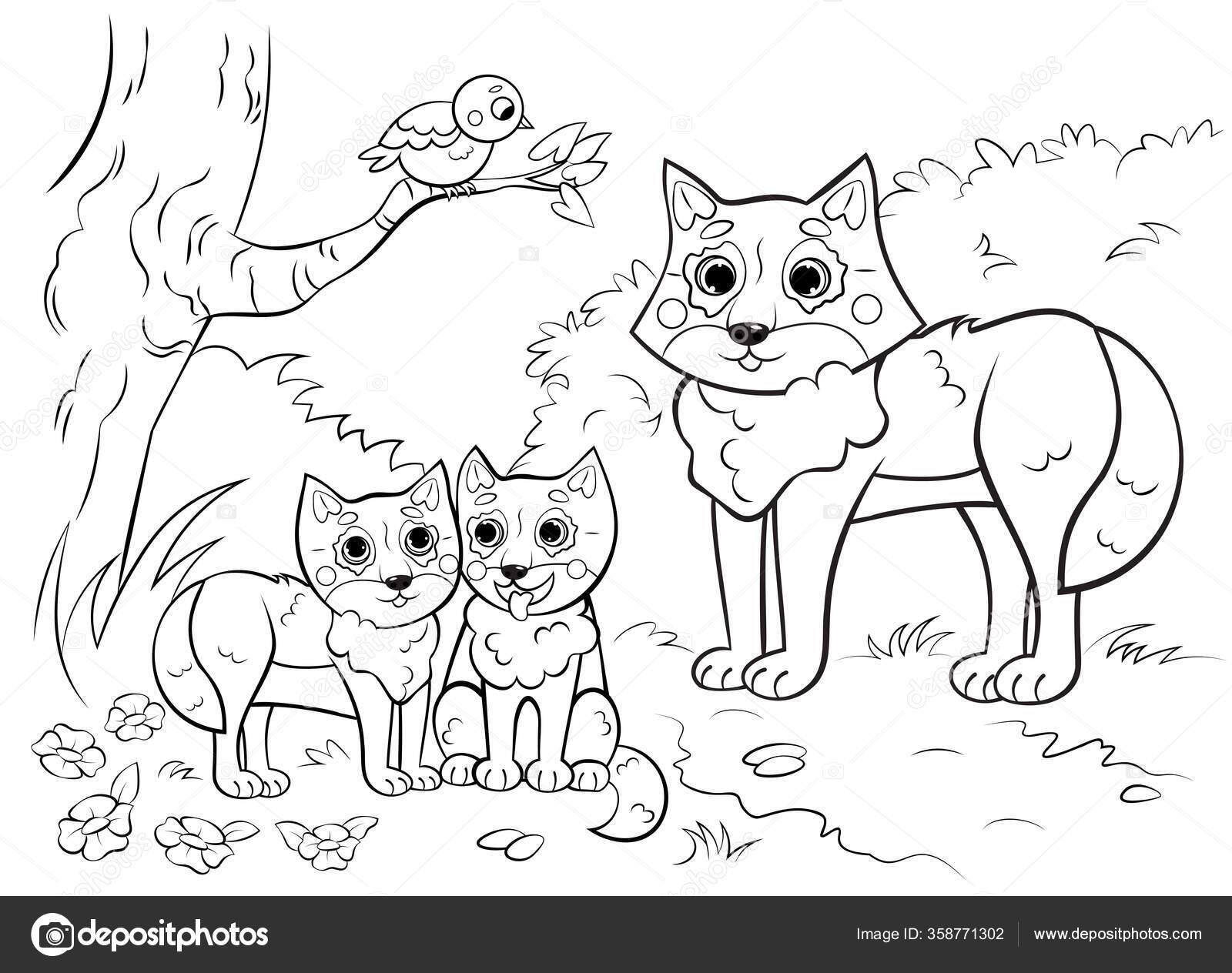 malvorlage umriss der niedlichen cartoon wolfsfamilie mit
