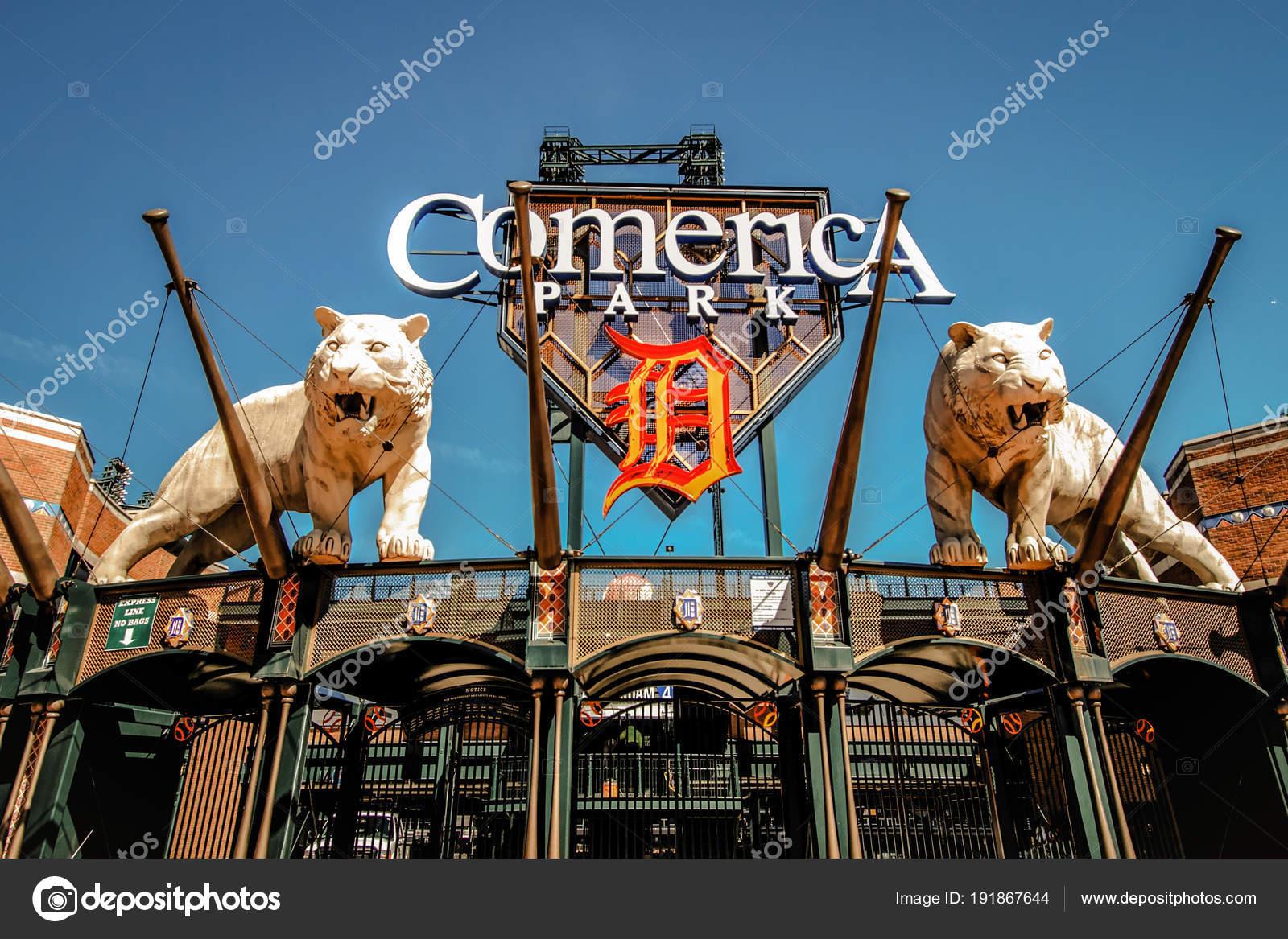 Detroit Michigan Usa März 2018 Äußere Der Comerica Park Beherbergt ...