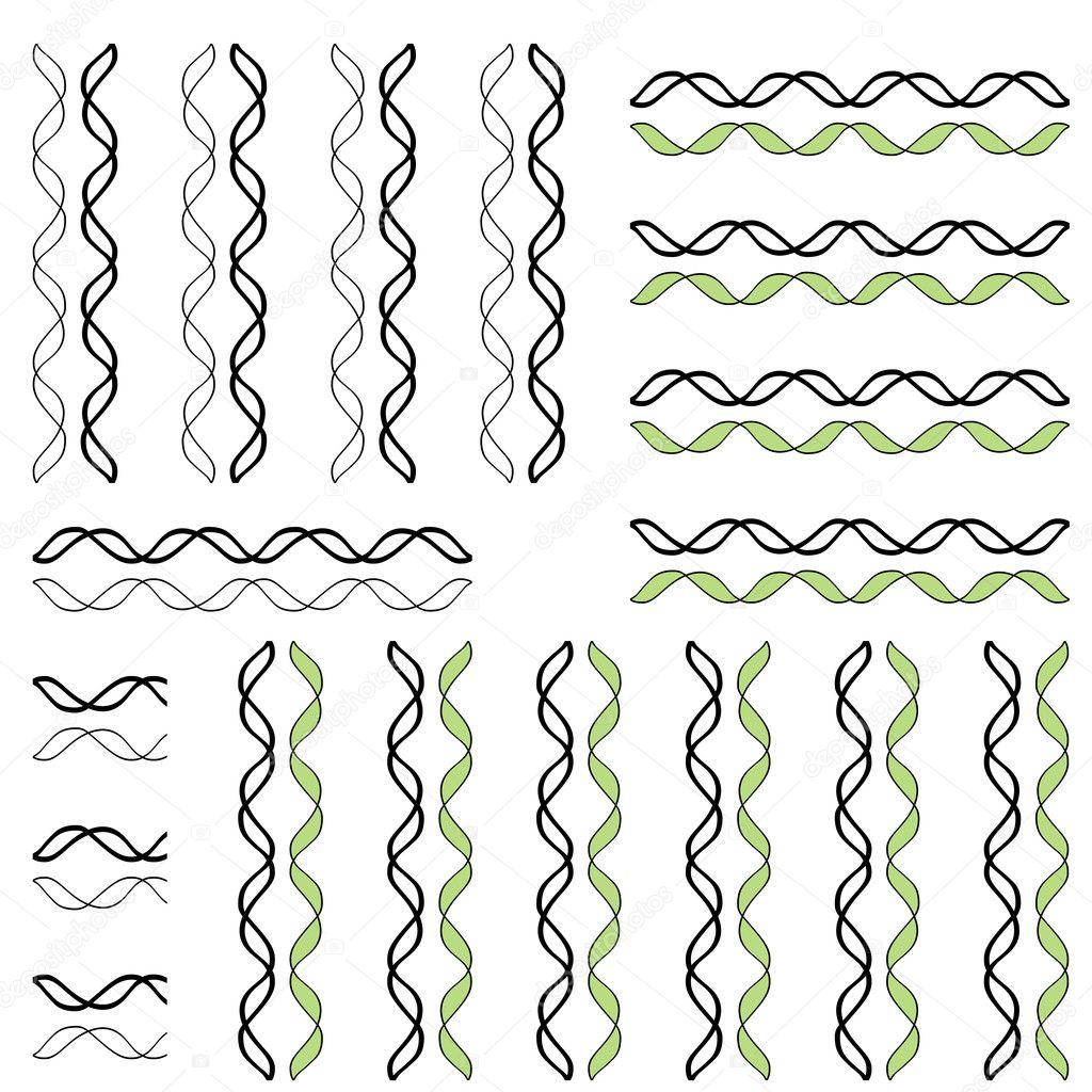 Conjunto de patrones abstractos sin costura con líneas onduladas ...