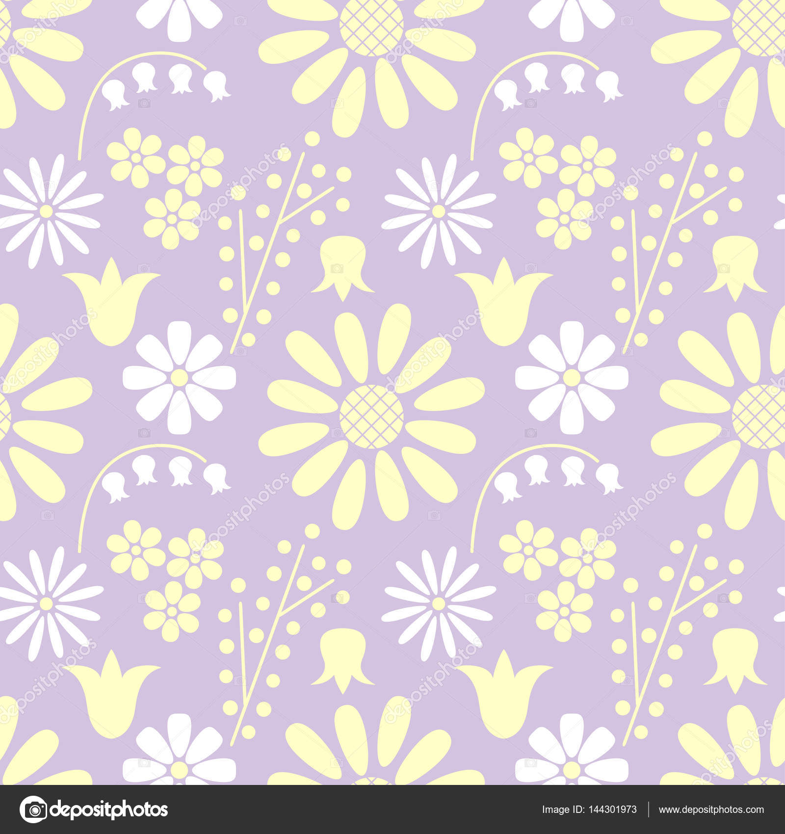 Floral Seamless Pattern Of Different White And Yellow Flowers On A