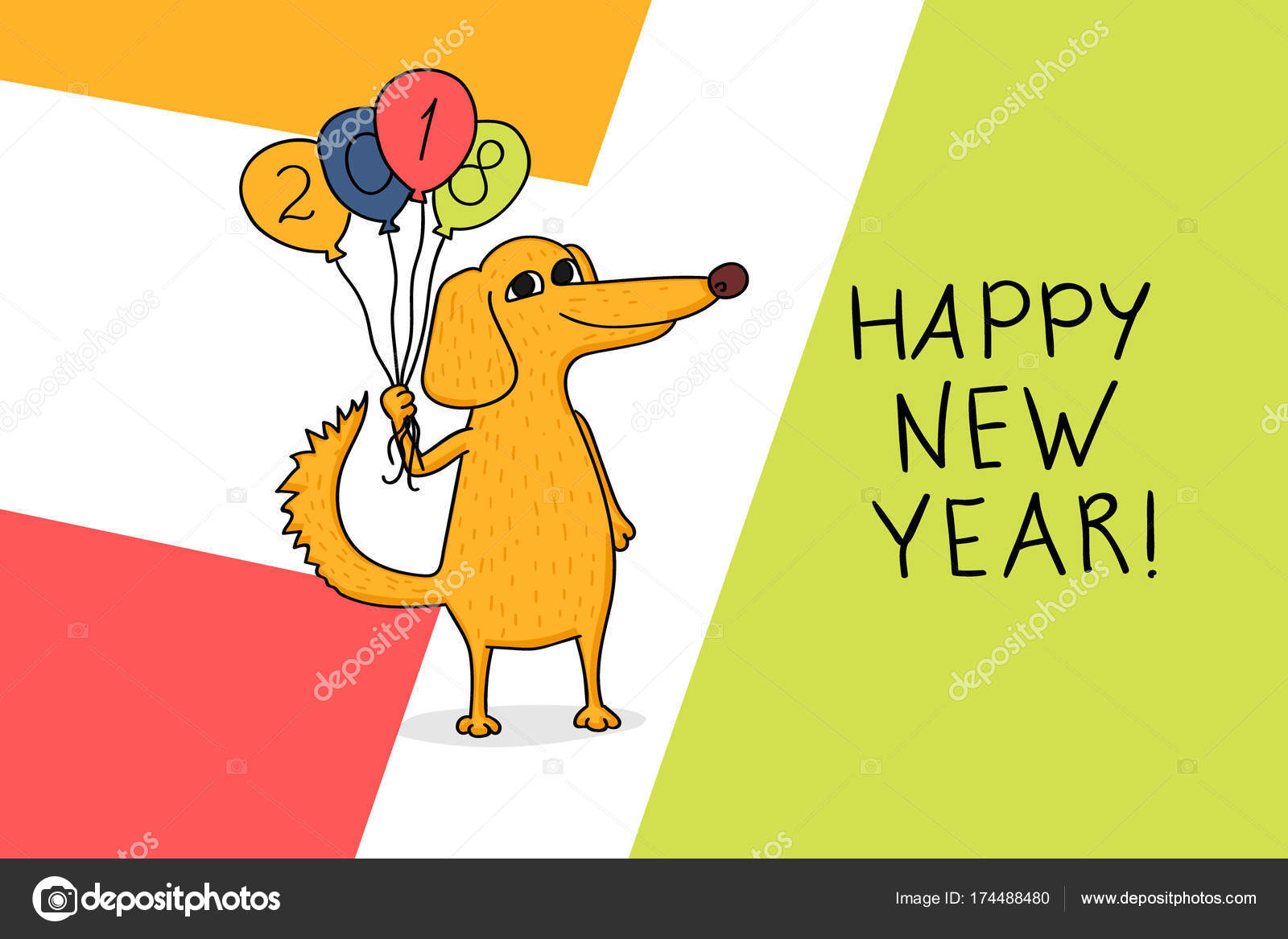 2018 happy new year greeting card celebration background with dog and with balloons and place for your text 2018 chinese new year of the dog