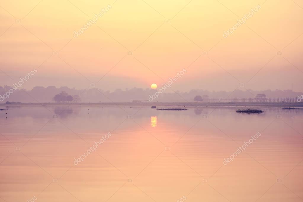sunrise or sunset on the lake