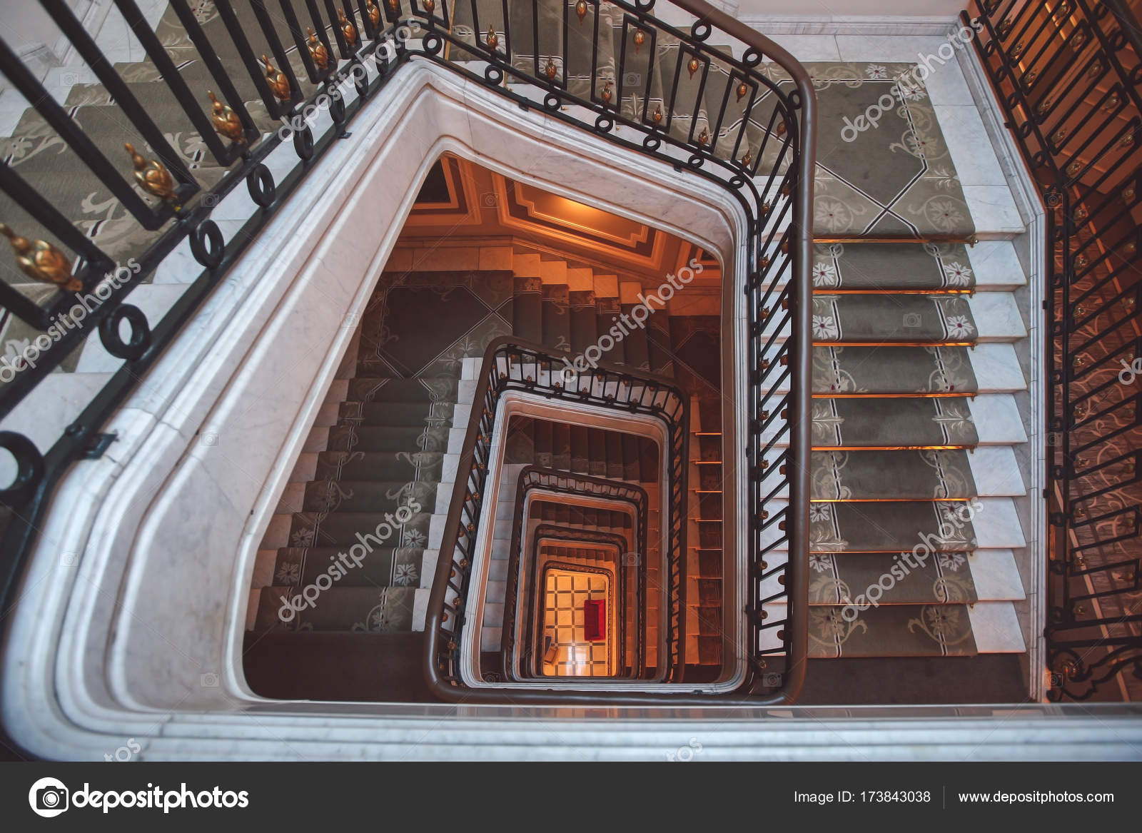 Old Square Spiral Stairway Case From Above U2014 Stock Photo
