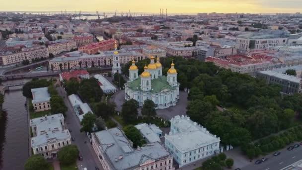 Aerial flight above beautiful Saint-Petersburg Russia 30