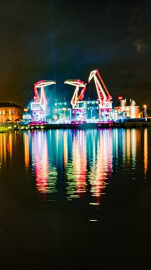 Illuminations in the Polish city of Szczecin, ferris wheel at ni
