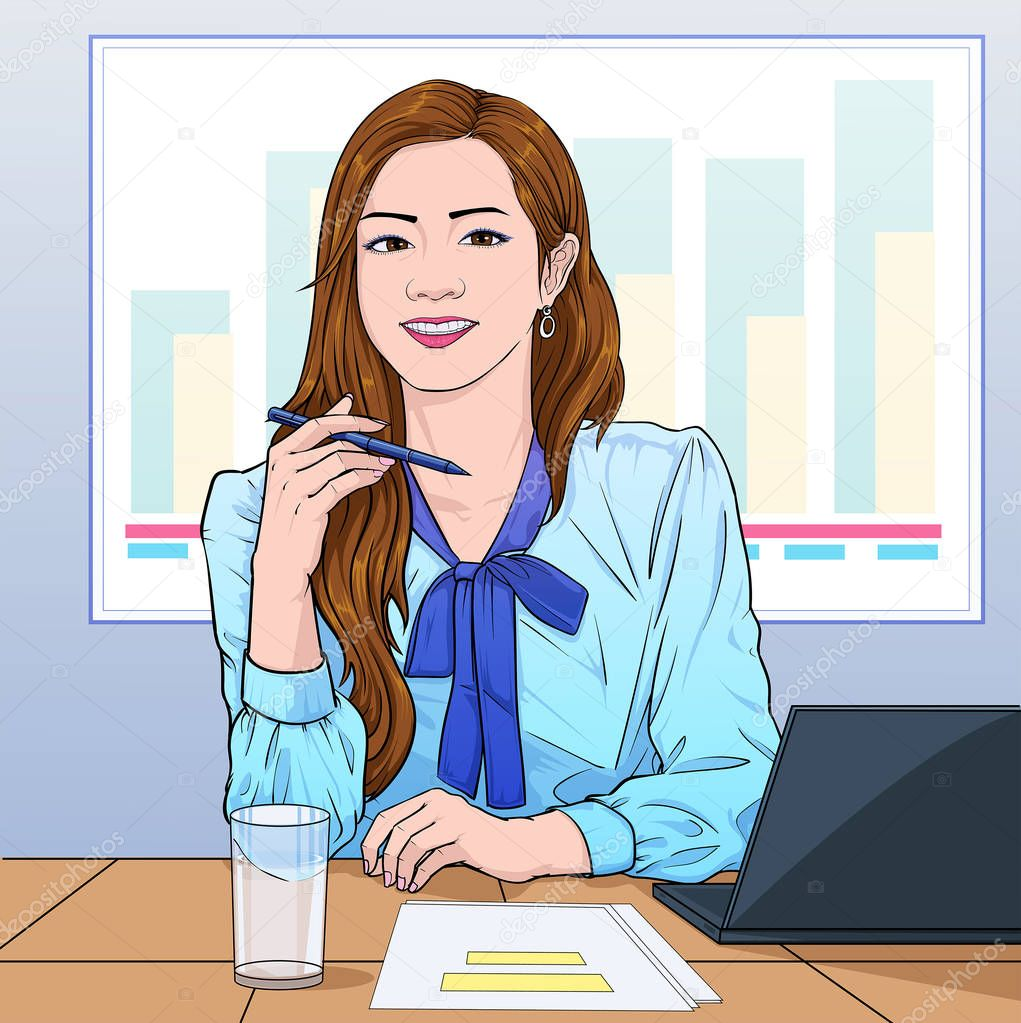 Фотообои Business women Office girl express opinions at the meeting at the company Illustration vector On pop art comics style Board background