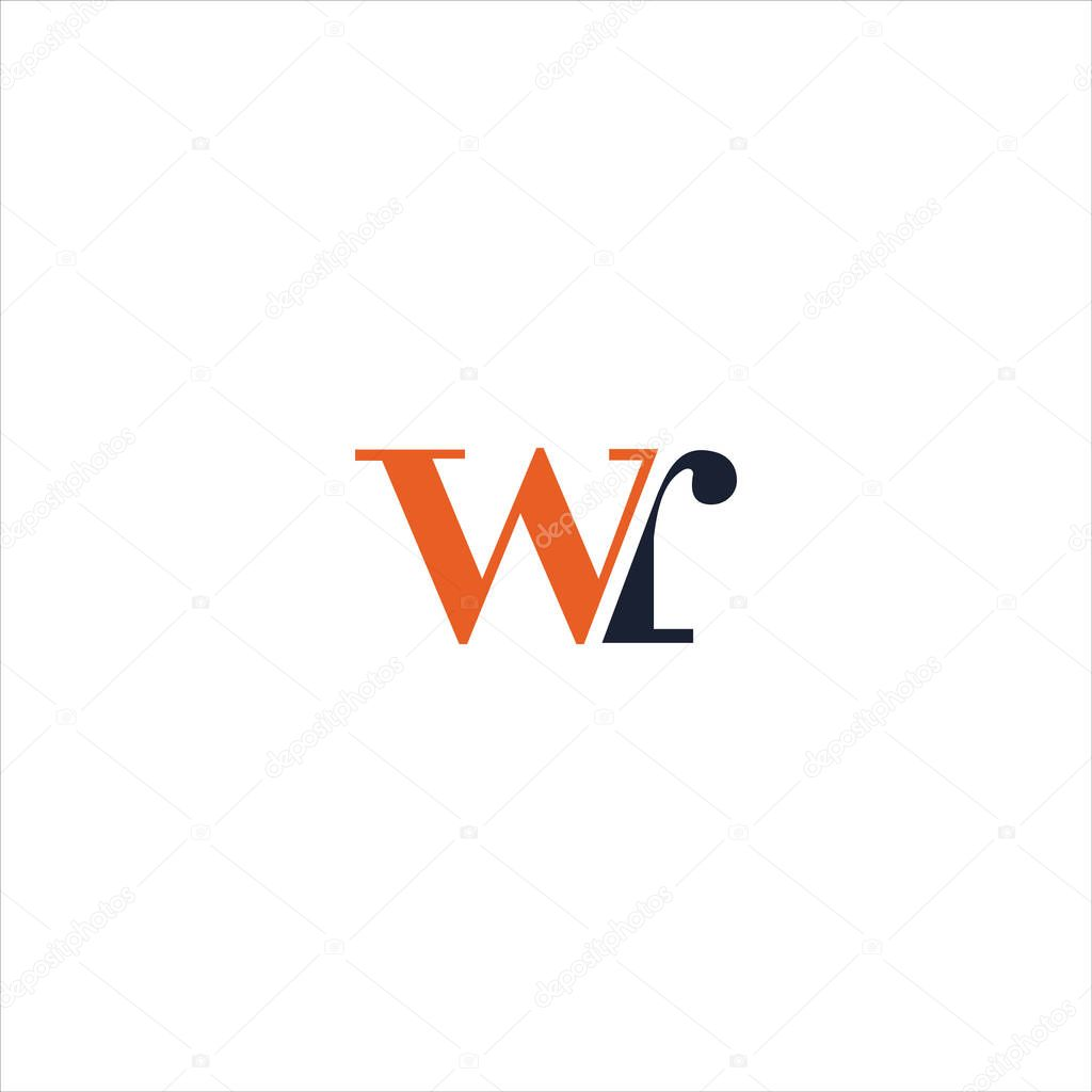 Initial letter wr or rw logo vector design template