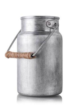 Aluminum milk canister on white isolated background close-up