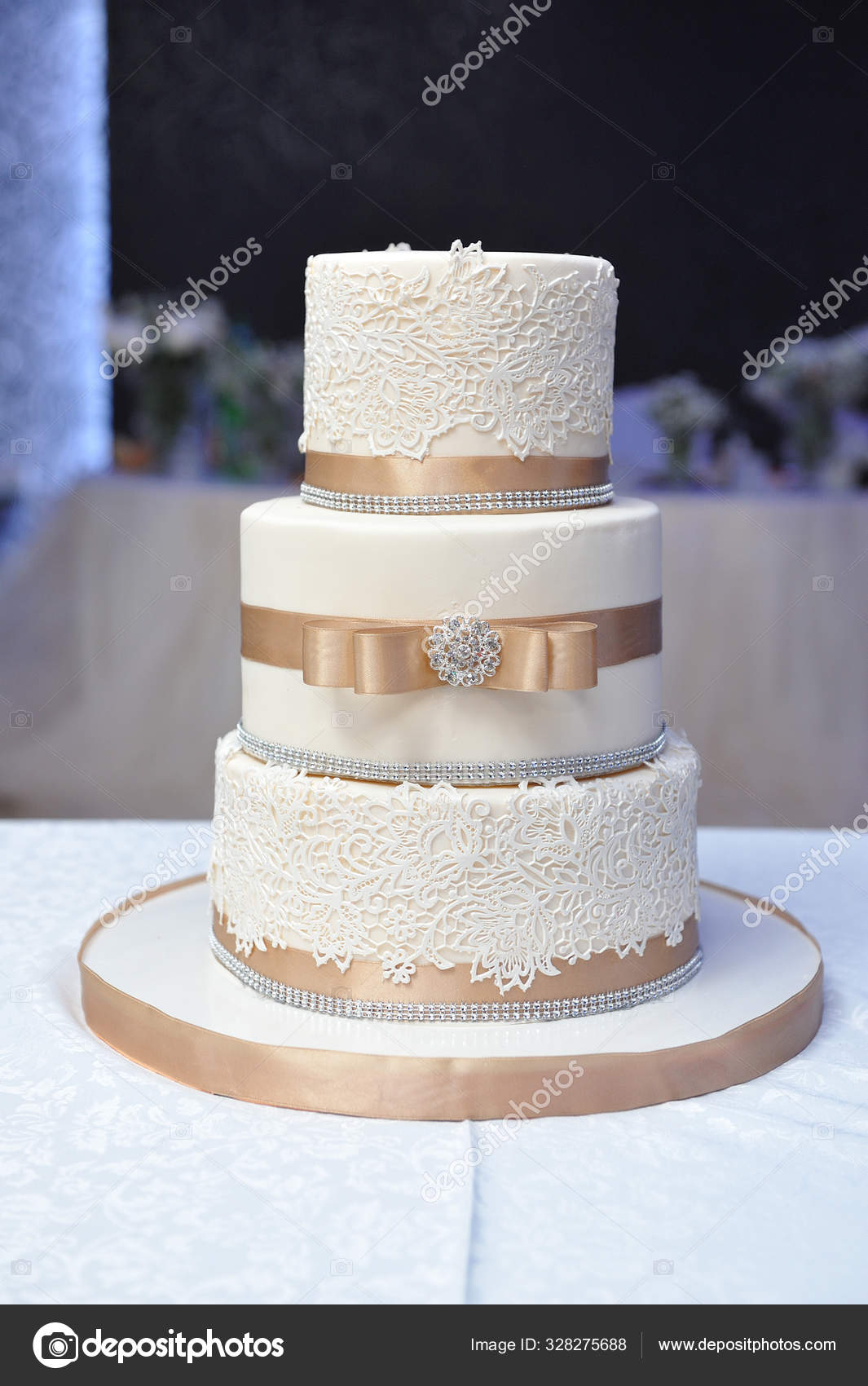 Three Tiered Wedding Cake Decorated Mastic Beige Ribbons Stock Photo C Iceberg Dp 328275688