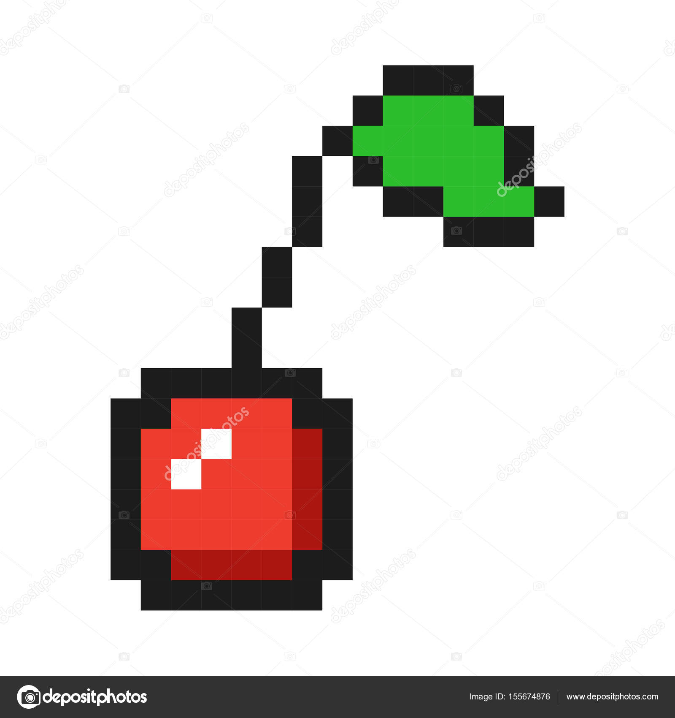 Pixel Art Cherry Icon Game Fruit Stock Vector Gamegfx