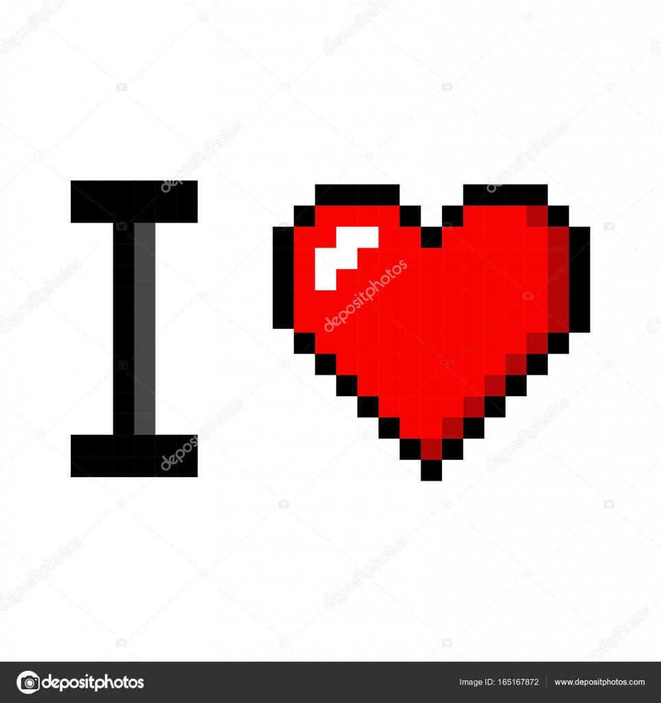 Coeur Dart Pixel Je Taime Valentine De Licône De Couleur