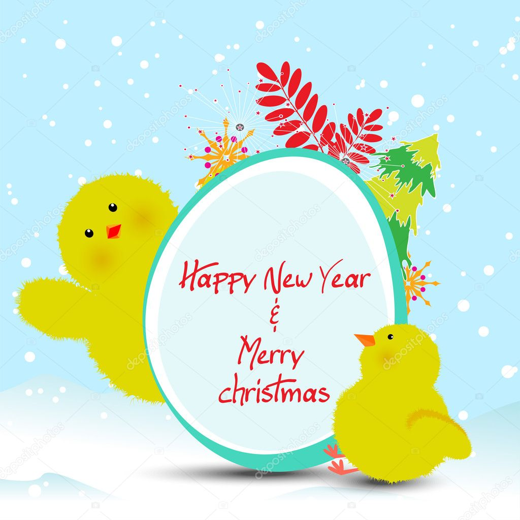 Happy New Year 2017 Vector Cute Greeting Card With Chicken Stock