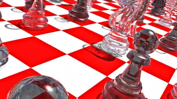 Movement of a view along the glass pieces on the red-white chessboard. 3D-Rendering. UHD - 4K