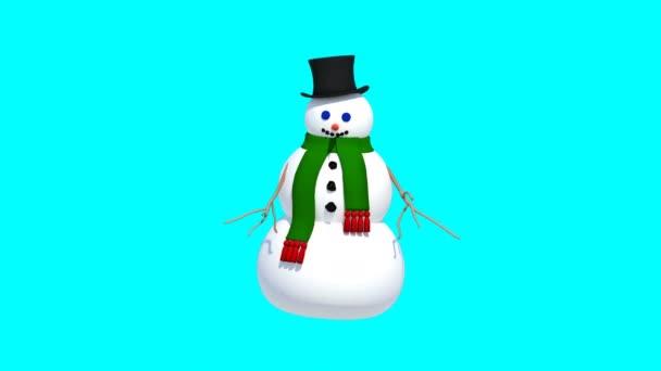 Sněhulák je tanec a ukázal. Izolovaný. Rozlišení - 4k. 3D vykreslování