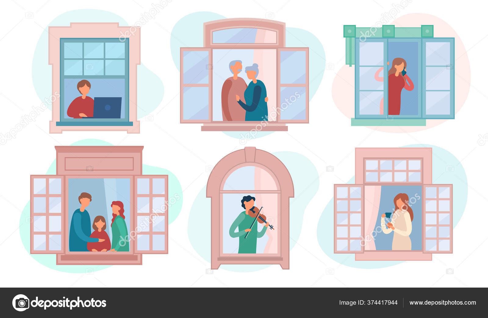Orang Orang Yang Beristirahat Di Dekat Jendela Terbuka Di Rumah Stok Vektor C Vectorstudi 374417944