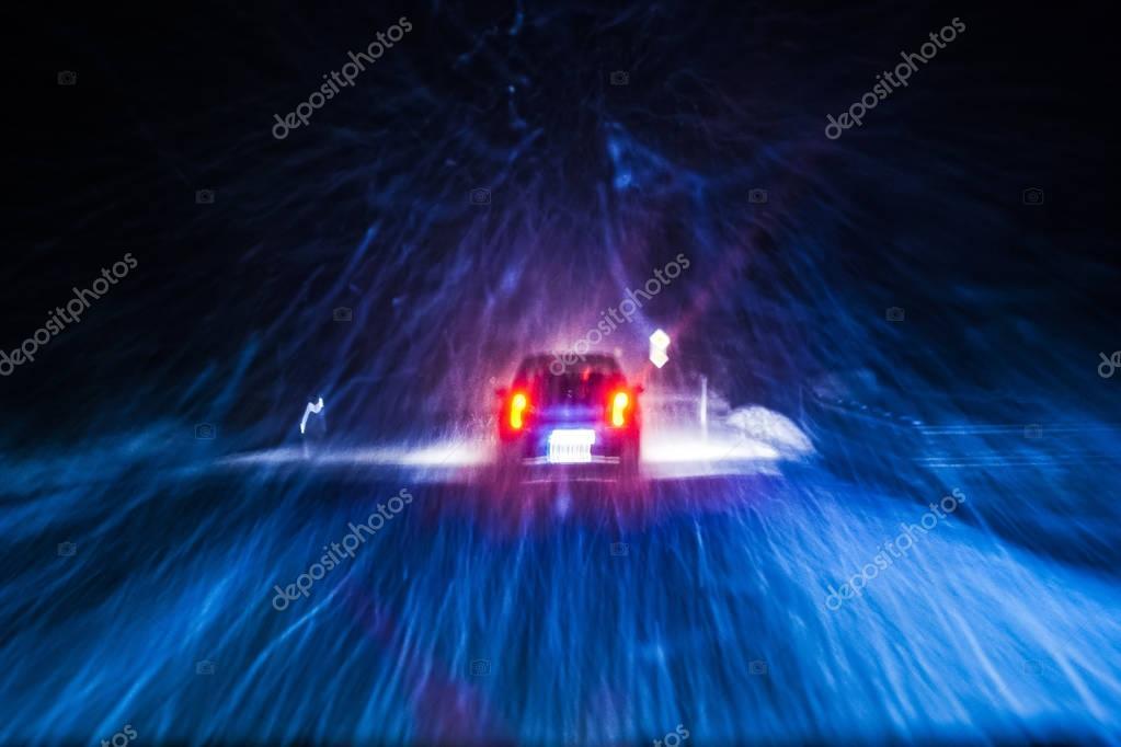 Snowstorm Car Night Drive
