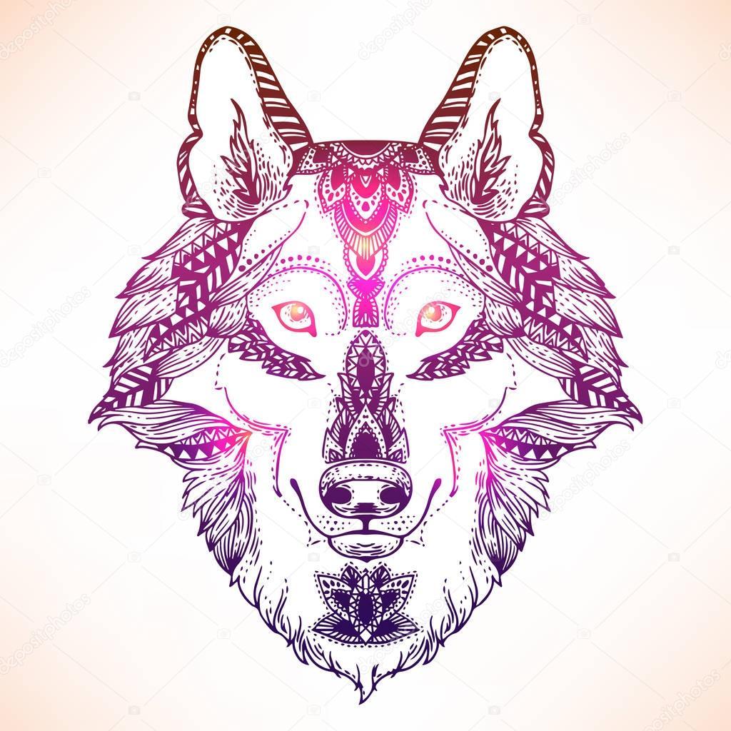 Tête De Loup Imprimer Pour Le Coloriage Image Vectorielle Mazeina