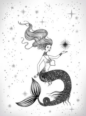 Beautiful mermaid with star in her hand