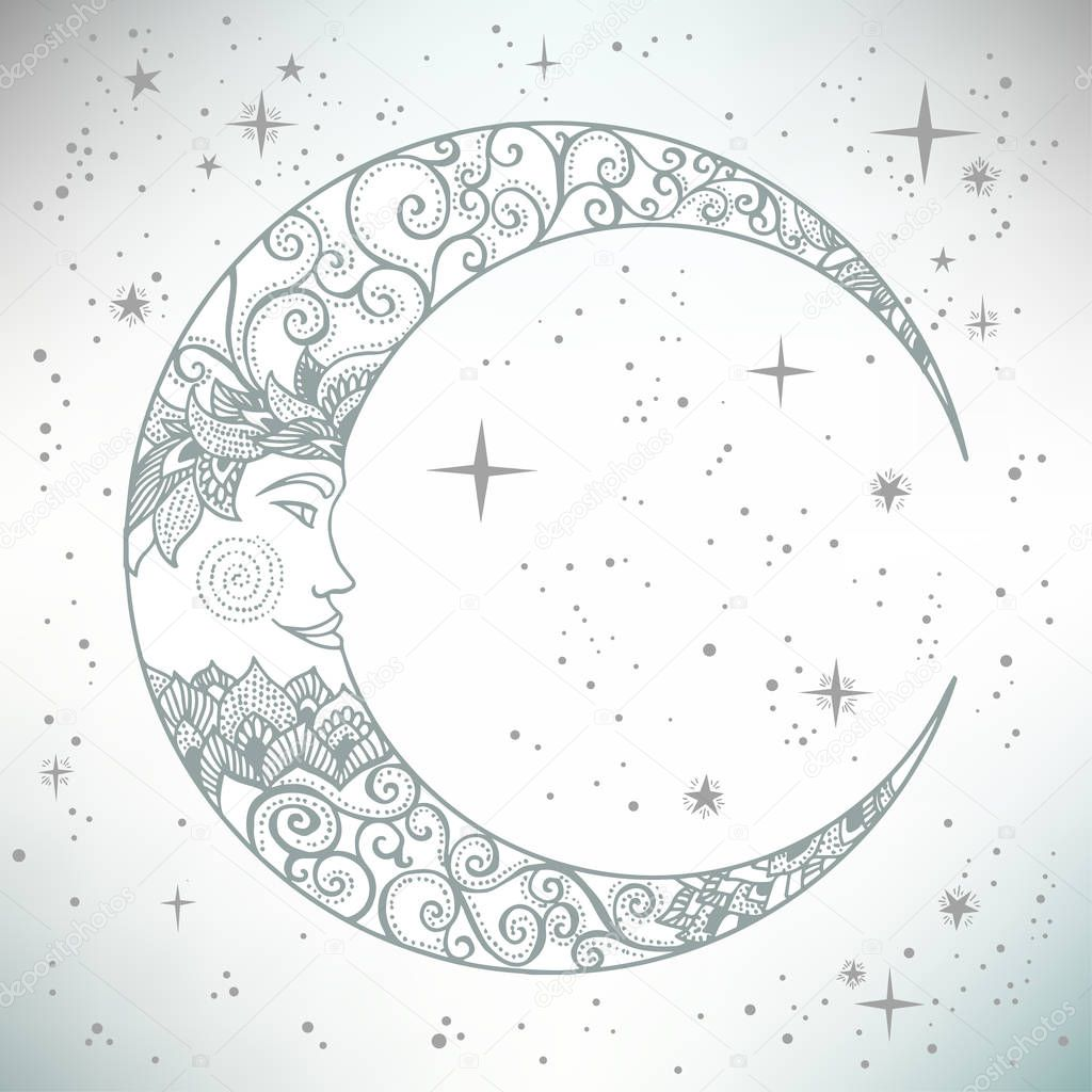 Vintage hand drawn moon face