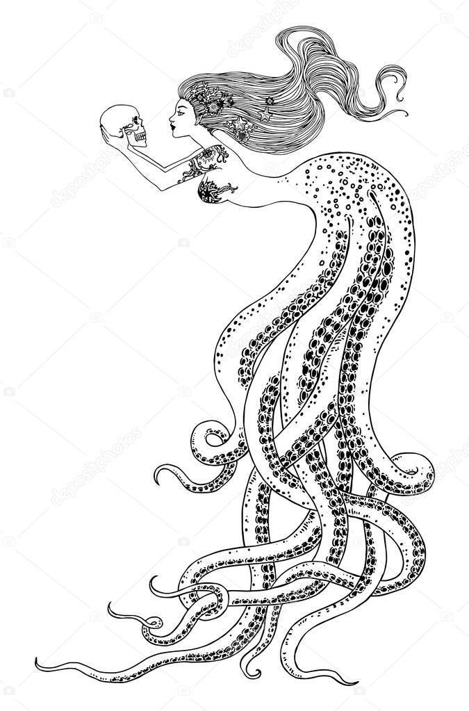 Hermosa sirena con calavera en sus manos vector de stock - Colorazione sirena pagina sirena ...