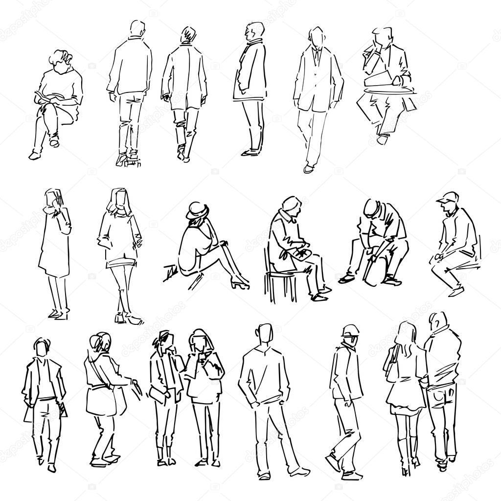 Line Drawing Person : Colección del bosquejo personas dibujos mano — vector de