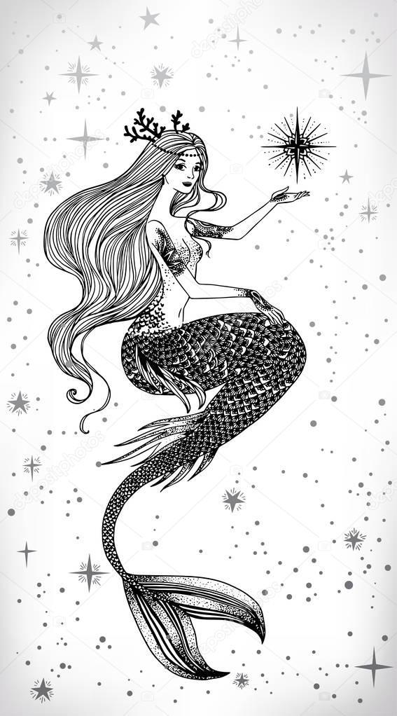 Schöne Meerjungfrau Mit Stern In Der Hand Stockvektor Mazeina